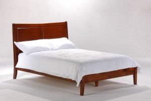 Solid Wood Bed Night and Day Saffron Bed White Cherry Chocolate | Xiorex