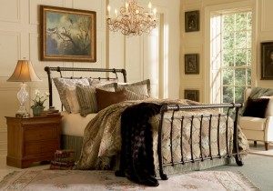 Legion Bed Sleigh Bed w Ancient Gold Finish by Fashion Bed Group