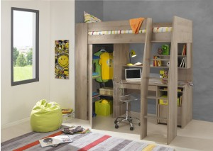 Timber Kids Loft Bunk Beds with Desk Closet | Gautier Gami Furniture