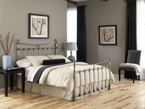 Leighton Bed Metal Poster Bed w Glazed Brass Finish by FBG   Xiorex