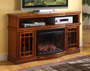 Dwyer TV Fireplace by Greenway in Burnished Pecan & Espresso | Xiorex