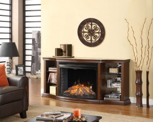 Contessa Curio Cabinet Fireplace Mantel W Curved Firebox | Xiorex