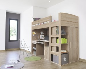 Gami Montana Loft Beds with Desk, Closet & Storage Underneath | Xiorex