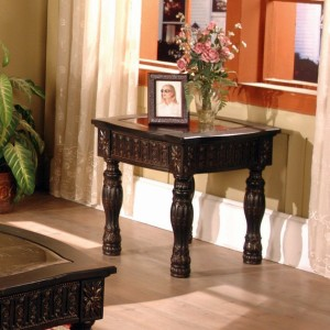 Ajax Dark Brown Square End Table Living Room Furniture   Xiorex