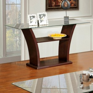 Columba Glass Top Sofa Table in Burnished Cherry | Xiorex