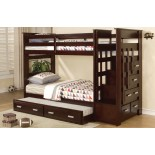 Acrux Twin Bunk Bed with Stairs and Trundle Bed in Espresso | Xiorex