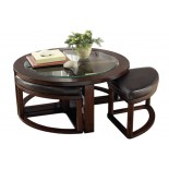 Aquarii Round Coffee Table with Stools | Xiorex