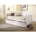 Casey Daybed Twin Size Bed w Trundle in Honey Maple & White | Xiorex