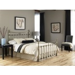 Leighton Bed Metal Poster Bed w Glazed Brass Finish by FBG | Xiorex