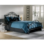 Linden Bed Metal Bed w Frame  in Matte Ebony Finish by FBG | Xiorex