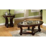 Perseus Glass Top Wooden Coffee Table Set Montreal | Xiorex