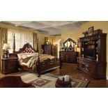 Traditional Poster Bedroom Furniture Set with Leather Headboard 105