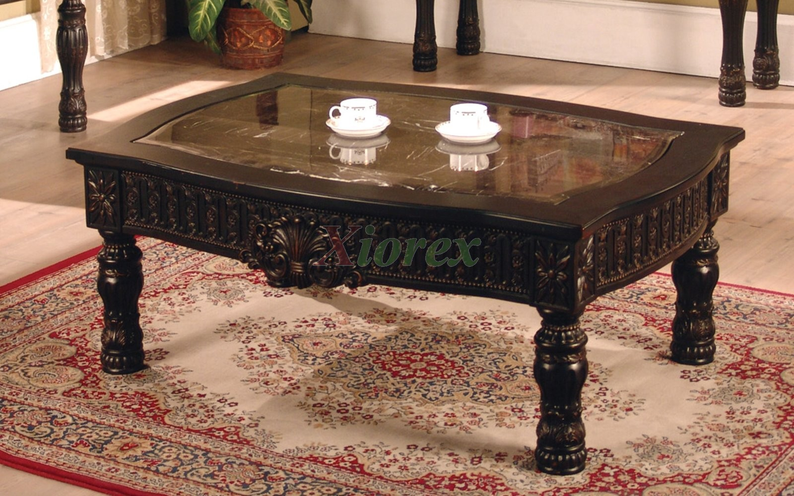 Ajax Rectangle Coffee Table With Faux Marble Top Inlay