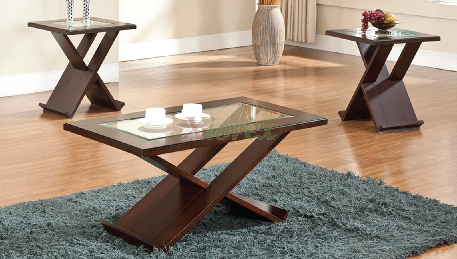 Alchiba Contemporary Coffee And End Tables With X Bases Xiorex