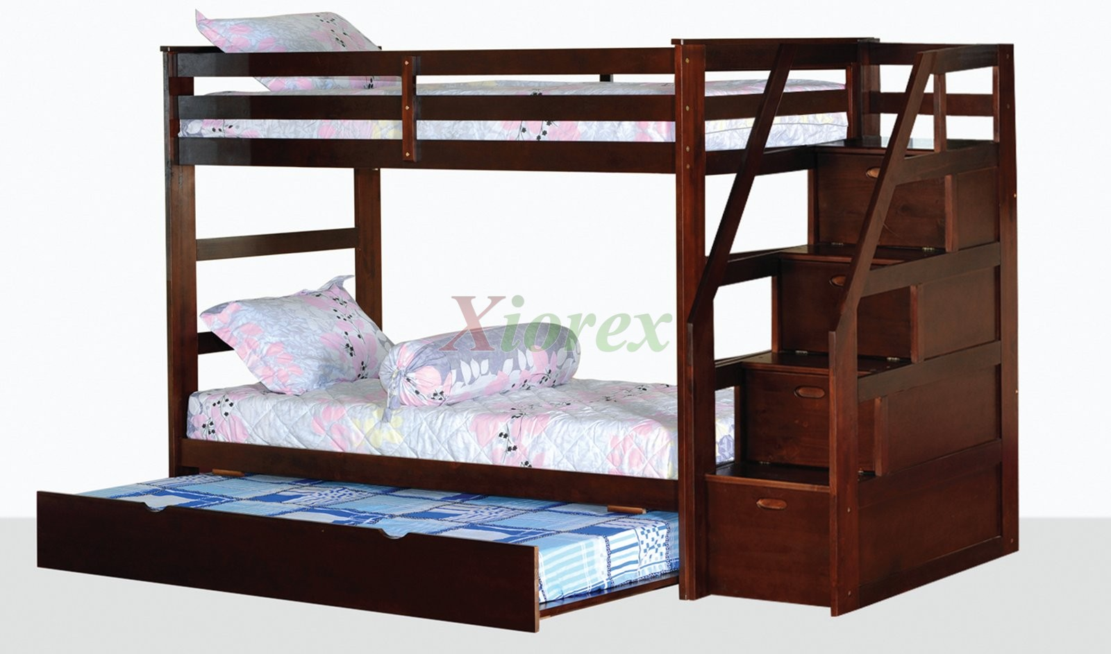 Bed Over Stair Box With Storage And Stairs: Alcor Twin Over Twin Bunk Bed With Storage Stairs And