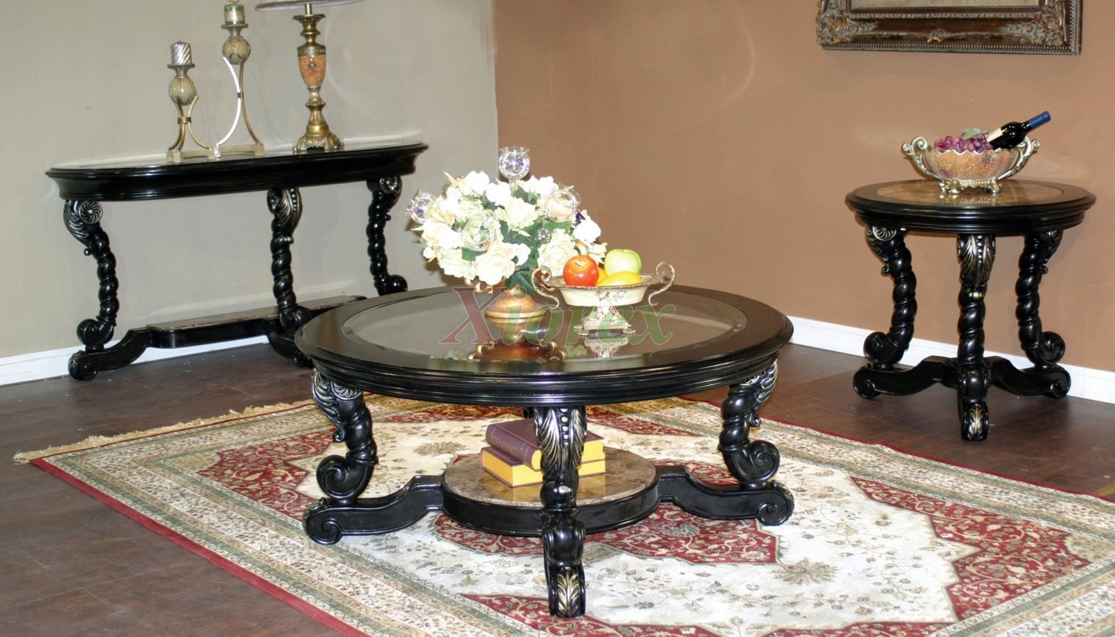 Alya coffee table set living room furniture toronto xiorex for Living room chair and table set