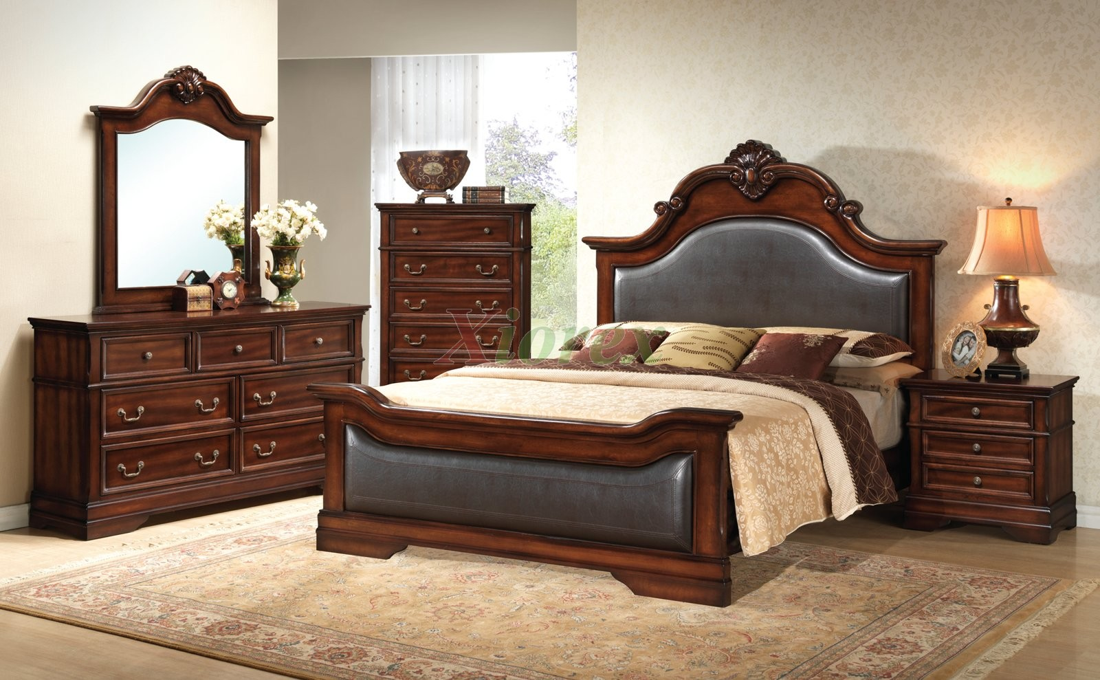bedroom furniture set with leather headboard and footboard