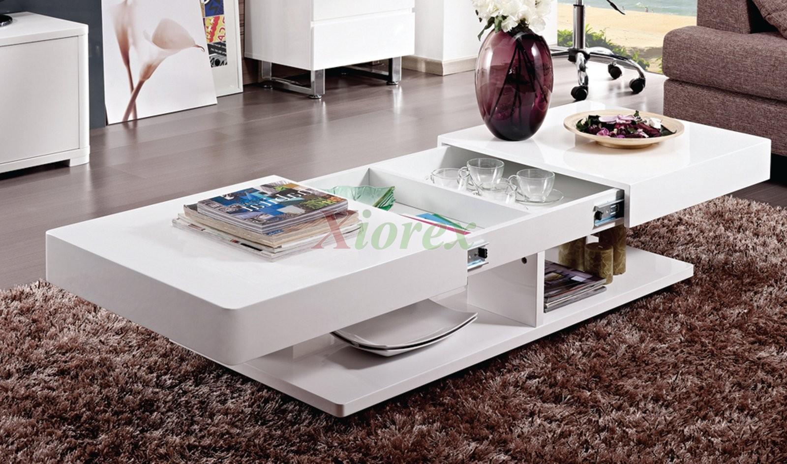 Burlington white coffee table living room furniture xiorex for Modern living room no coffee table