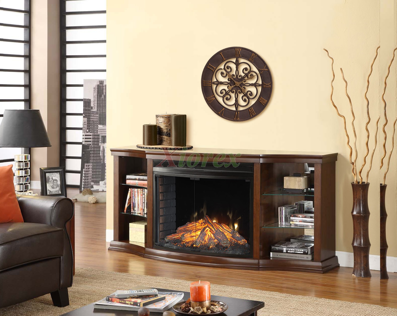 Contessa Curio Cabinet Fireplace Mantel W Curved Firebox Xiorex