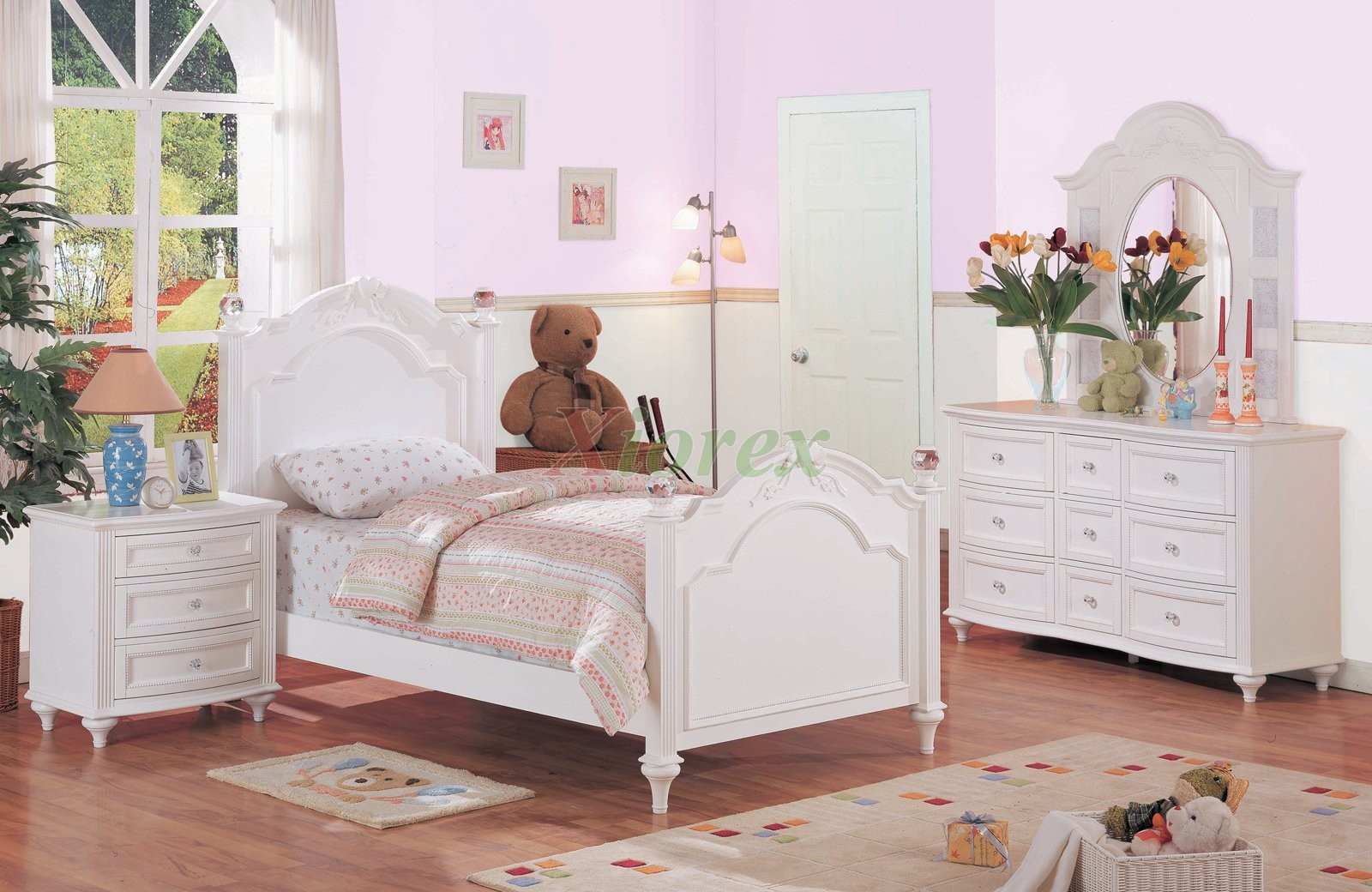 White kids poster bedroom furniture set 175 xiorex - White bedroom furniture for girl ...
