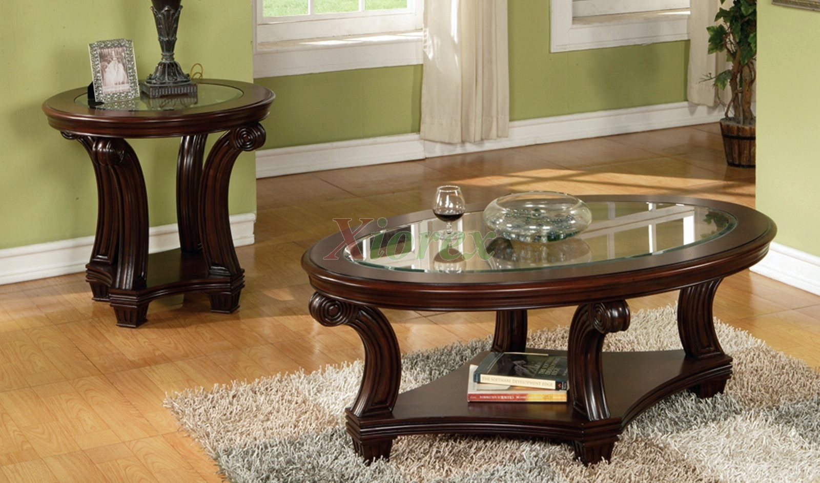 Perseus glass top wooden coffee table set montreal xiorex for Living room chair and table set