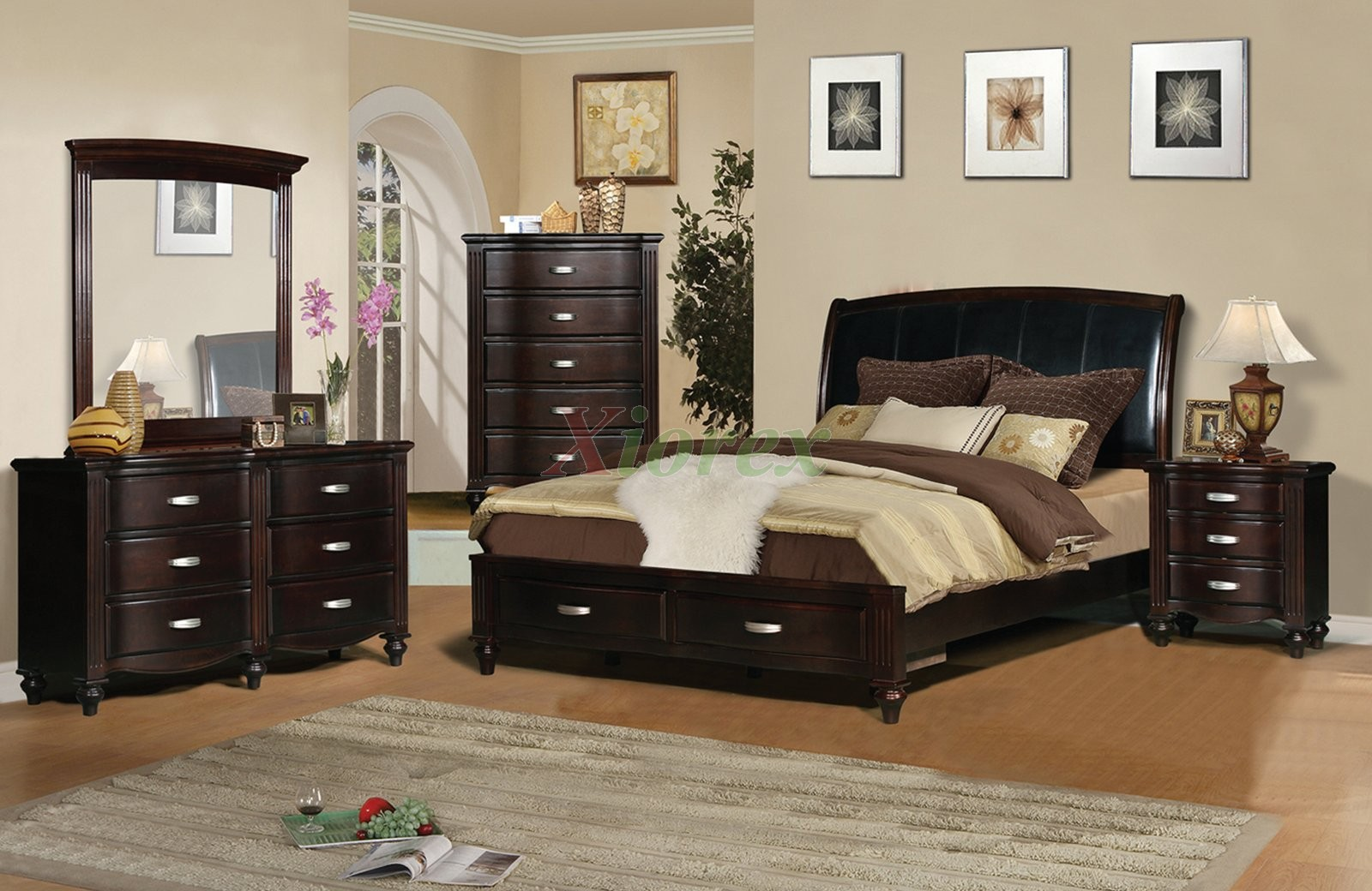 platform bedroom furniture set with leather headboard 132 xiorex. Black Bedroom Furniture Sets. Home Design Ideas