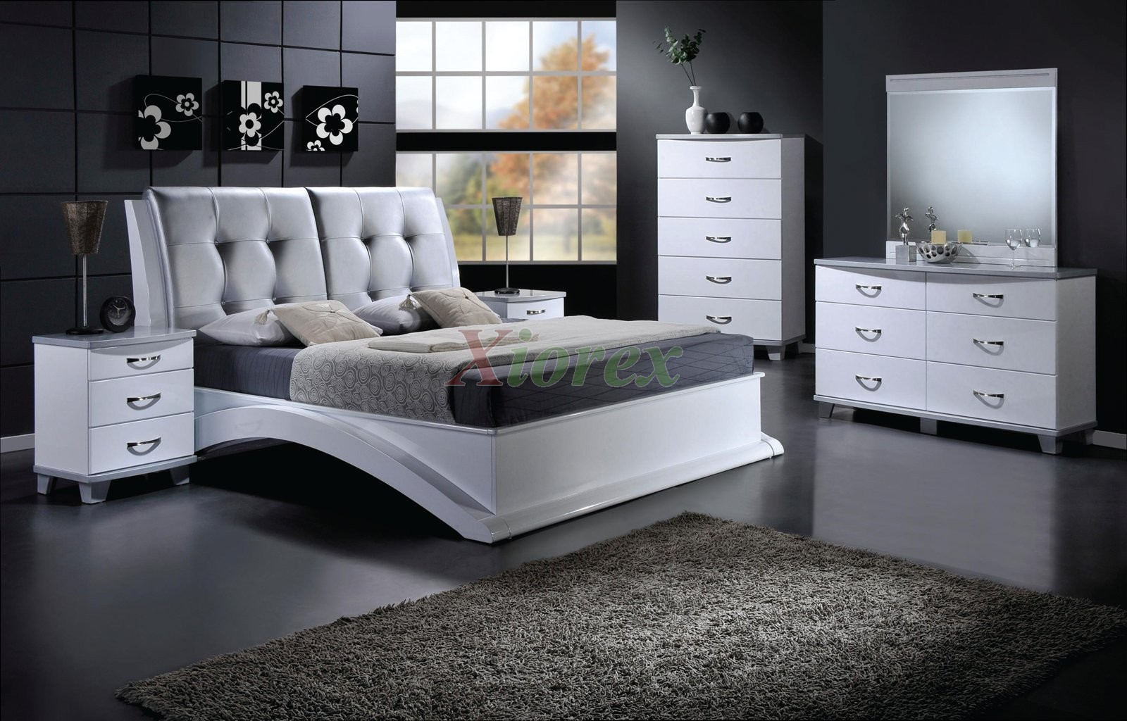 platform bedroom furniture set with leather headboard 145