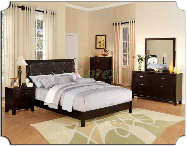 Platform Bedroom Furniture Set with Tufted Leather Headboard Beds 166
