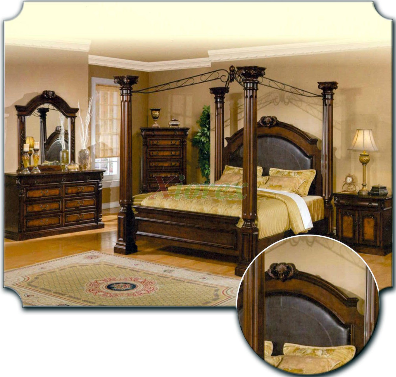 poster bedroom furniture set with leather headboard metal canopy 103
