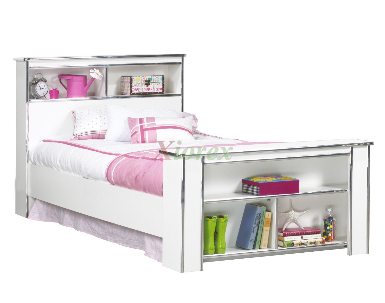 Bookcase headboard footboard bed frames life line tango for Twin size beds for girls