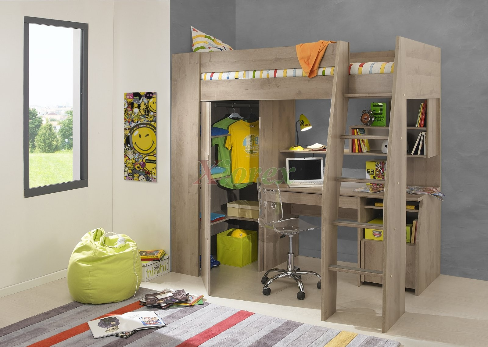 Timber kids loft bunk beds with desk closet gautier gami Kids loft bed with desk