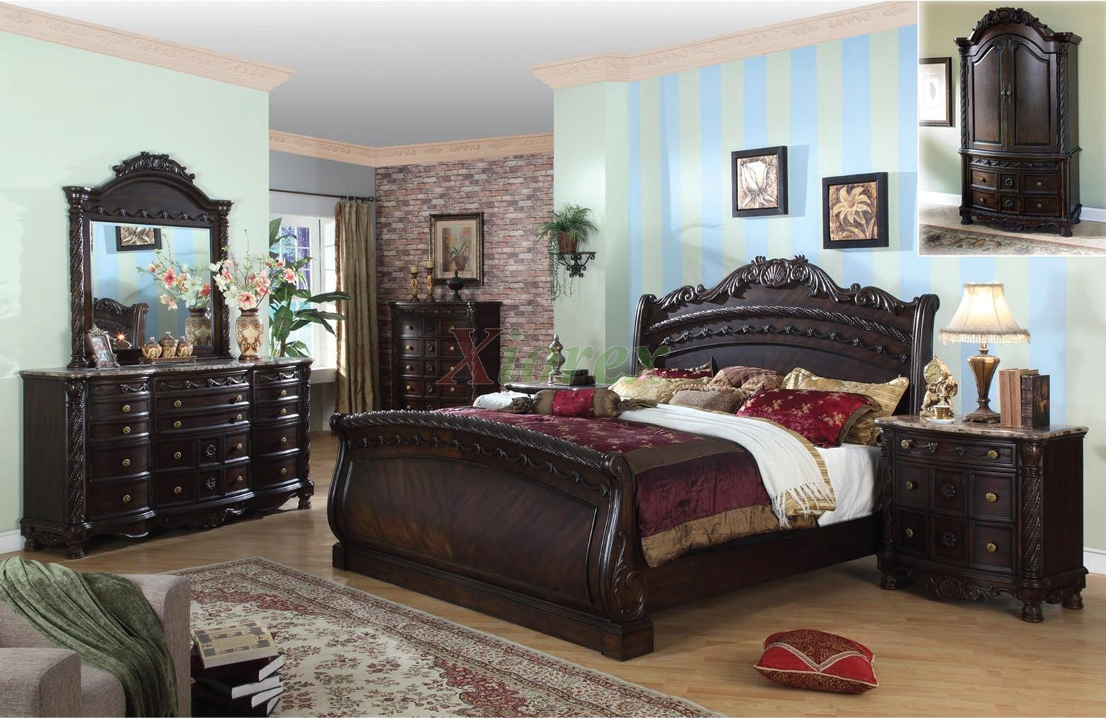 Traditional sleigh bedroom furniture set 108 xiorex for Traditional bedroom furniture