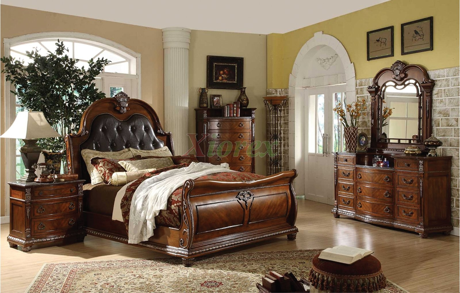 Traditional sleigh bedroom furniture set with leather for Headboard and dresser set