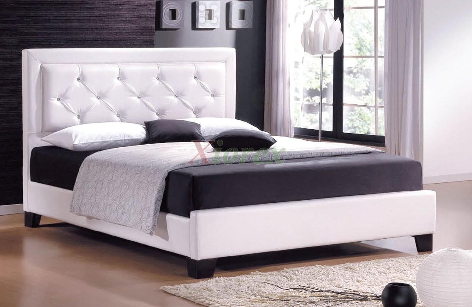Upholstered platform bed furniture with tufted headboard for Platform bed with upholstered headboard