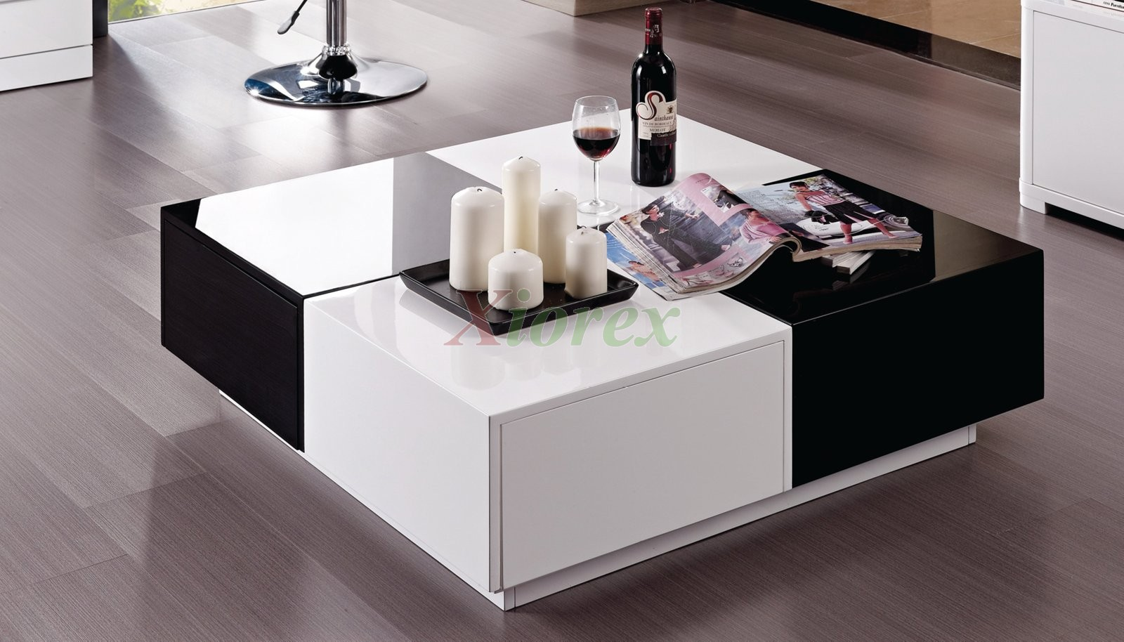 vaughan black and white lacquer coffee table furniture xiorex - Modern Coffee Table Sets