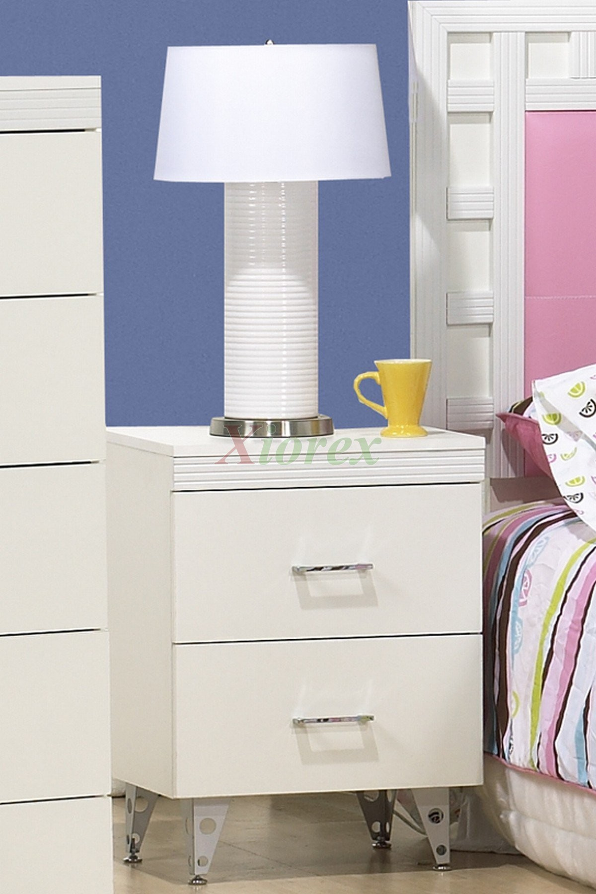 White Bedside Table Life Line Priscilla 2 Drawer Night Table | Xiorex