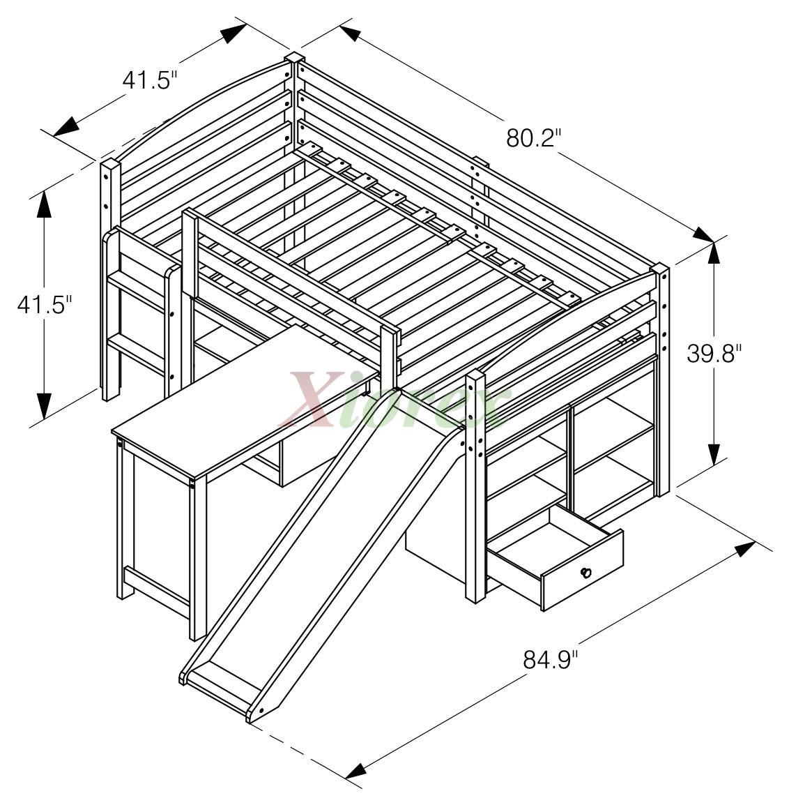 Mulberry Boys Amp Girls Cabin Loft Beds With Slide Desk