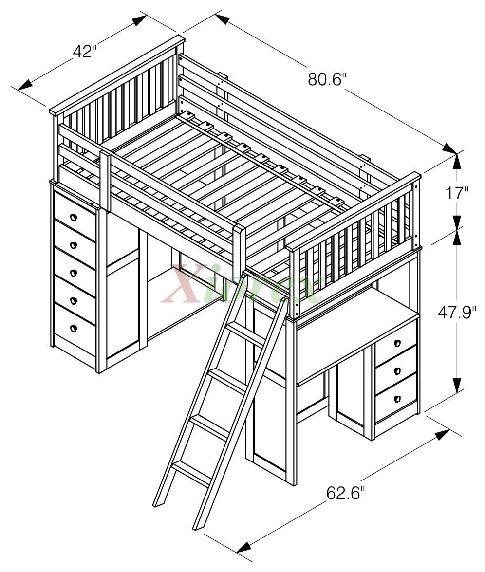 Huckleberry Loft Bunk Beds For Kids With Storage Amp Desk