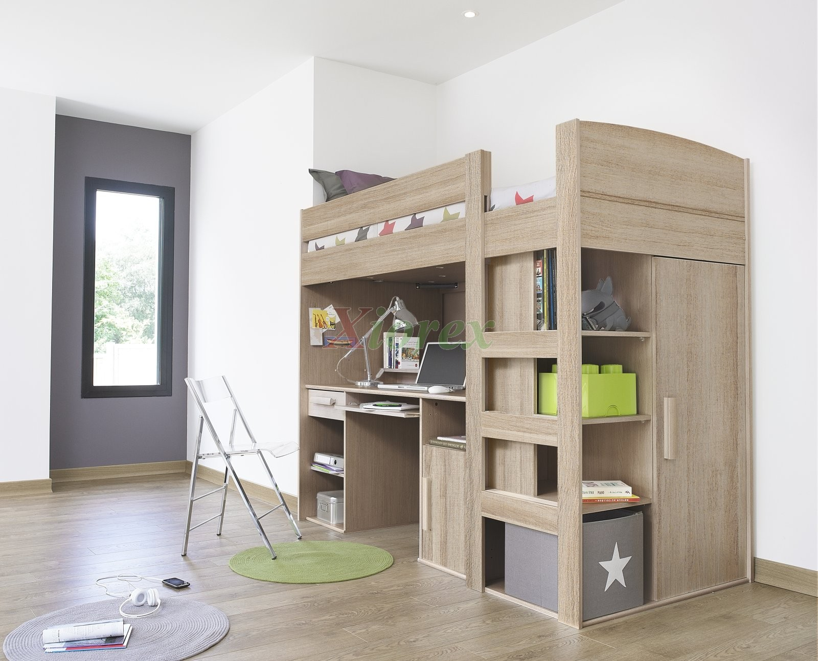 Loft Bed with Desk and Closet Underneath 1600 x 1292