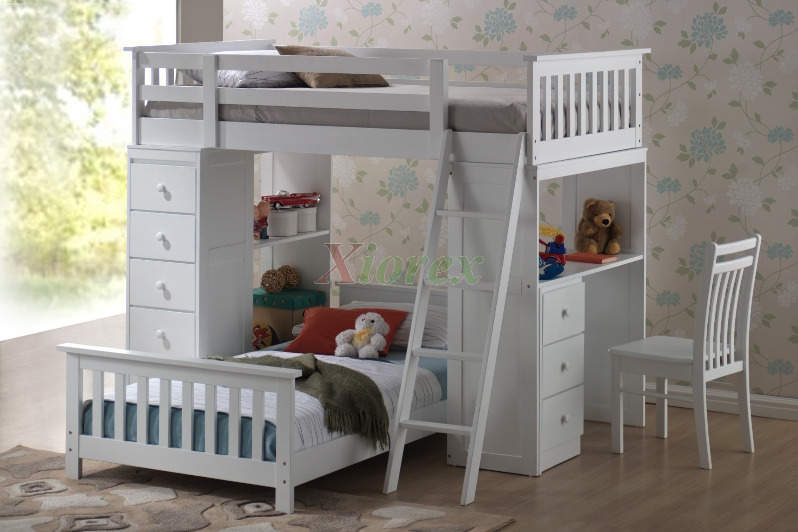 huckleberry loft bunk beds for kids with storage desk xiorex. Black Bedroom Furniture Sets. Home Design Ideas